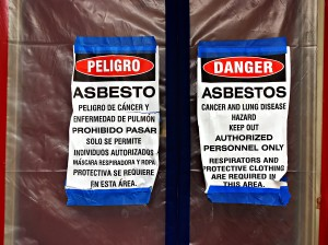 Danger signs for asbestos. Here at Karl Environmental Group we provide asbestos testing and asbestos abatement to any businesses that may need it throughout PA and NJ.