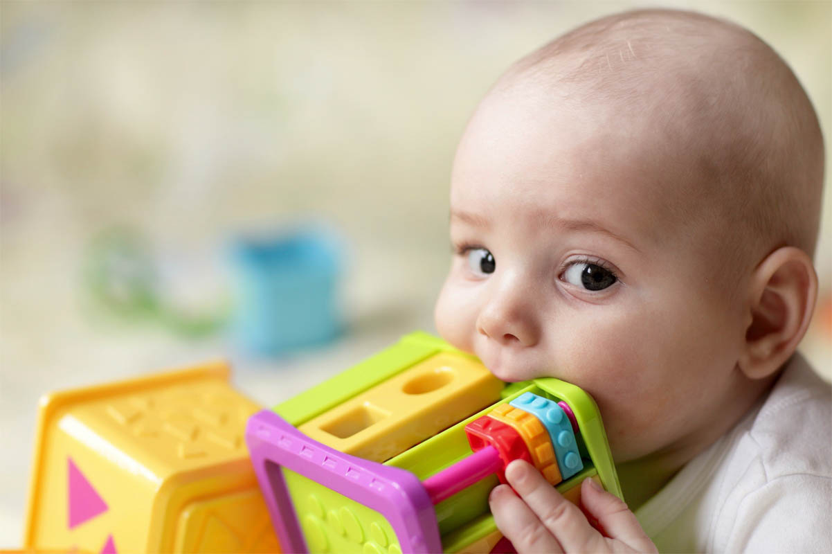 Young child chews on toys